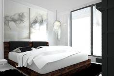 Ciekawa aranżacja ściany za łóżkiem w sypialni