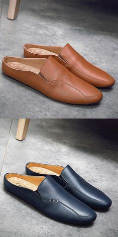 Prelesty Summer Men Driving Shoes Backless Loafers Open Backs Breathable Leisure Casual Loafers, Leather Loafers, Loafers Men, Casual Shoes, Driving Loafers, Driving Shoes, Mens Shoes Boots, Shoe Boots, Boat Shoes