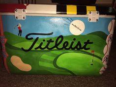 Painted cooler, golf cooler, cooler ideas, titleist, fraternity, titleist cooler