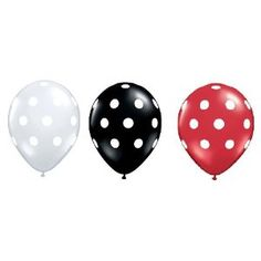 Red Black Clear Balloons with White Polka Dots