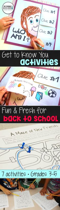 "Fun and fresh get-to-know-you activities for the beginning of the year, including a ""Who Am I?"" poster with flip-open clues, ""A Maze of New Friends"" activity, and more! 7 total activities, perfect for back-to-school! Gr. 3-5 ($). Click the image for details, or see the bundle of BOTH my Get-to-Know-You Activity Packs here: https://www.teacherspayteachers.com/Product/Back-to-School-Activities-Get-To-Know-You-BUNDLE-2-Packs-1984515"