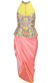 Multicolour coin and thread work peplum jacket with salmon dhoti wrap skirt by PAPA DON'T PREACH available only at Pernia's Pop-Up Shop. Salwar Kameez, Kurti, Churidar, Indian Attire, Indian Wear, Indian Dresses, Indian Outfits, Capes, Anarkali