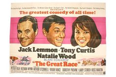 Lot 220 - The Great Race (1965) UK Quad cinema poster for this comedy starring Jack Lemmon, Tony Curtis,