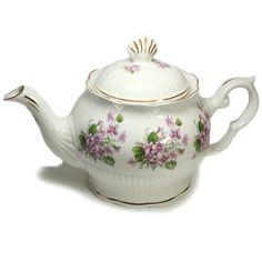 English Bone China Teapot - Purple Violets