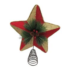Holiday Cheer Burlap And Red Star Tree Topper