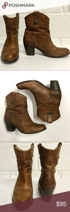 """Frye Jackie Button Short booties in nubuck Worn ONCE to a Clemson game and while I LOVE these, they're too small!! But good news for you if you're a 7-7.5!   From Frye website: The elegance of the Jackie Button with a lower shaft. Made of pressed nubuck and accented with our signature buttons, these are boots to kick up dust with in your favorite jeans, or a rebellious addition to a ball gown. FEATURES - Leather sole with rubber forepart - 7 1/2"""" shaft height - 11"""" shaft circumference - 2…"""