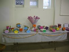 Candy table at a candy themed sweet 16 party.