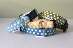 Polka Dotted Dog Collar Small Dog Collar by BullenBeisser on Etsy, $17.95