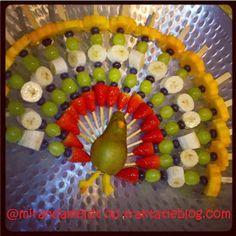 Gezonde traktatie fruit pauw!