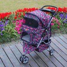Fashion Flower 3 Wheels Pet Dog Cat Stroller Carrier w/RainCover