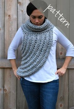 Crochet PATTERN - Cross Body Cowl Scarf - Huntress Vest - Chunky Cowl