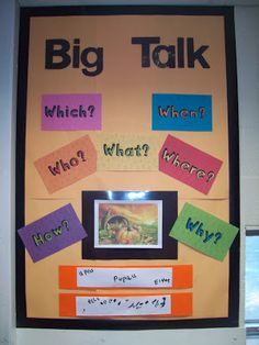 Foundation Stage Two Big Talk display. The image is displayed and children are encouraged to write about what they see.