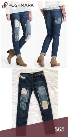 Free People Haynes Patchwork Crochet Jeans Excellent condition, I'm in love with these! Super trendy patch work jeans with crochet parts as well. Free People Jeans