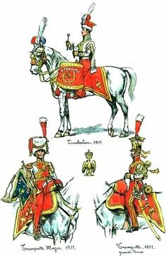 From Top Clockwise; Kettle Drummer, Trumpeter and Trumpet Major of 2nd Lancers(Dutch or Red) of the Imperial Guard.1811