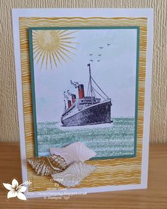 Sea scene made  with Stampin' Up! Work of Art, Kinda Eclectic and Traveler