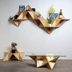 triangular shelf by J1 studio - a furniture design studio located in Los Angeles producing simple, unique and sculptural objects that function as furniture and beyond.