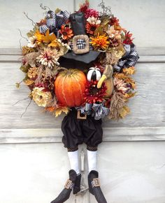 Reserved Installment Plan for Gwen Pilgrim Wreath Thanksgiving Wreaths, Autumn Wreaths, Easter Wreaths, Thanksgiving Decorations, Holiday Wreaths, Halloween Decorations, Fall Decorations, Fall Halloween, Halloween Crafts