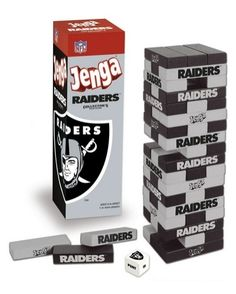 USAopoly JENGAFBOAK NFL Football Jenga Game - Oakland Raiders
