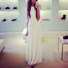 Elegant Dress Half Sleeve White Lace Double Layer Long Dress