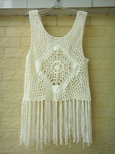 Hippie Long Fringe Crochet Vest Beach Cover Up by TinaCrochet2016