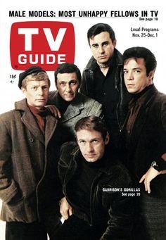 TV Guide: November 25, 1967 - (back row) Garrison's Gorillas - Christopher Cary, Cesare Danova, Rudy Solari, Brendon Boone, (front) Ron Harper