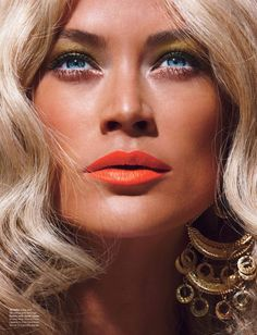 So pretty...Carolyn Murphy for W Magazine rocking Stay Coral lip color by Estee Lauder.