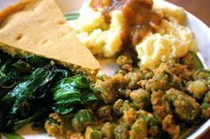 Vegan Southern Dinner: fried okra, sauteed collards, cornbread, mashed potatoes + gravy