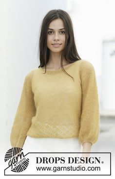 Knitted jumper in DROPS Kid-Silk. The piece is worked with garter stitch, lace pattern and ¾-length balloon sleeves. Sizes S - XXXL. Drops Design, Lace Patterns, Knitting Patterns Free, Free Knitting, Crochet Patterns, Drops Kid Silk, Magazine Drops, Point Mousse, Knitting Gauge