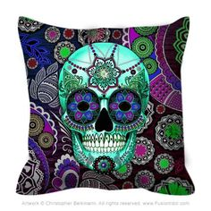 """Sugar Skull Sombrero Night"" - Purple Paisley Sugar Skull Throw Pillow The highly detailed artwork covers both sides of this premium art throw pillow. A variety"