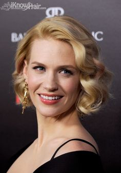 Top 50 Bob Hairstyles for Women: January Jones Short Curly Hair, Wavy Hair, Medium Curly, Men's Hair, Celebrity Hairstyles, Bob Hairstyles, January Jones Hair, Mad Men Hair, Medium Hair Styles