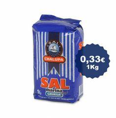 Sal marina gruesa de 1 kg, destinada al consumo doméstico y negocios de hostelería.