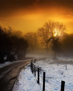Country road, snow, sunset