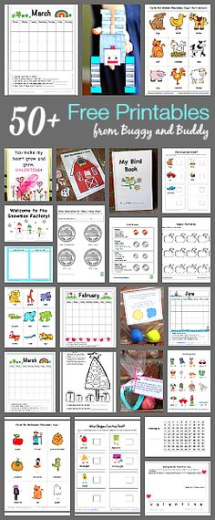 Over 50 free printables for kids by subject:  Games, activities, and learning pages for various ages.