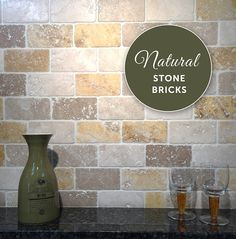 Create a unique feature wall with various shades of natural stone bricks!
