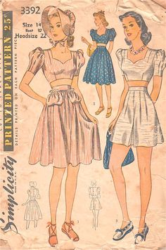 Simplicity 3392  1940s Misses Sweetheart Neck Midriff Top Skirt Sun Hat womens vintage sewing pattern and by mbchills