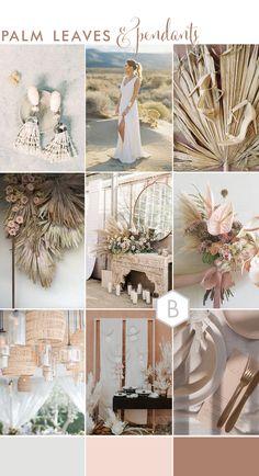 Moodboard: Pink + White Boho Chic Wedding With Pendant Palm Wedding, Luxe Wedding, Green Wedding, Rustic Wedding, Wedding White, Wedding Hair, Wedding Themes, Wedding Colors, Wedding Decorations