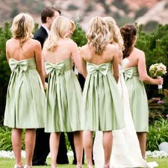 love the bow-back bridesmaid dresses!