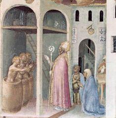 Gentile da Fabriano - Polittico Quaratesi: San Nicola salva tre giovani (predella) - 1425 - Pinacoteca, Vaticano