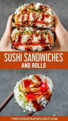 "Vegan Tofu ""Katsu"" Sushi Sandwiches (Onigirazu) and Rolls Sushi Rice Recipes, Whole Food Recipes, Cooking Recipes, Sushi Sandwich, Sushi Rolls, Delicious Vegan Recipes, Vegetarian Recipes, Yummy Food, Katsu Recipes"