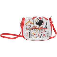 Cute Bird Cat Heart Butterfly Floral Classic Saddle Bag/Large (Model 1648)