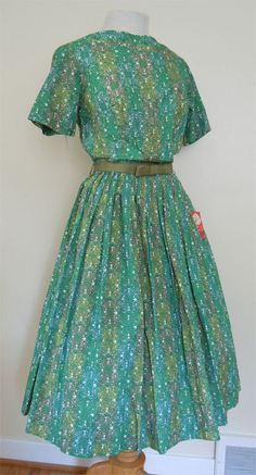 1950s vintage Ann Taylor nwt pleated emerald green Mad Men day dress