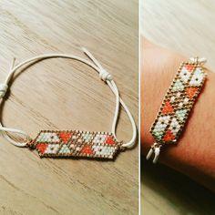 Bracelet en perles Miyuki, doré, vert d'eau, corail et blanc