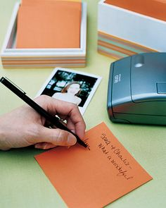 Keep a Polaroid camera and note cards on hand so guests can snap pictures at the reception and write personal messages to the newlyweds