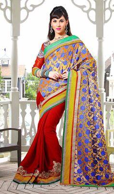 Crimson, Orange and Yellow Velvet Half N Half Saree Price: Usa Dollar $106, British UK Pound £63, Euro78, Canada CA$115 , Indian Rs5724.