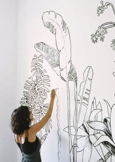 """Kreative Ideen zur Wandgestaltung - Die Manowerker Limited hall are usually became more spacious and comfortable rooms compared to """"big"""" decoration ideas. Wall Drawing, Drawing Trees, House Drawing, Sun Drawing, Drawing Style, Illustration Art, Illustrations, Inspiration Art, Blog Deco"""
