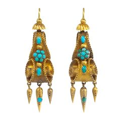 Early Victorian Turquoise Gold Earrings | From a unique collection of vintage dangle earrings at https://www.1stdibs.com/jewelry/earrings/dangle-earrings/