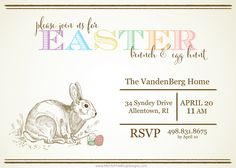Vintage Easter Invitation ~ free and customizable #easter #brunch #lunch #egghunt