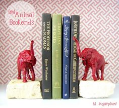 DIY bookends: any object (perhaps spray painted) and glued to stones!