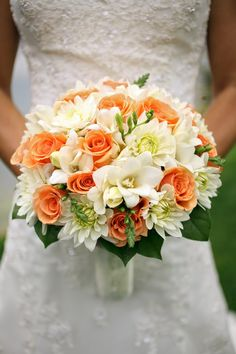 Cream and Coral Bridal Bouquet with White Dahlia and Peach Roses | Logan Walker Photography