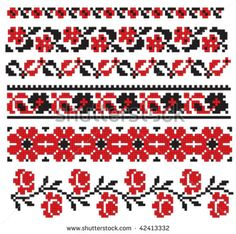 Illustration about There is a scheme of ukrainian pattern for embroidery. Illustration of fashion, culture, folk - 12649377 Cross Stitch Alphabet Patterns, Cross Stitch Borders, Cross Stitch Samplers, Needlepoint Patterns, Sewing Patterns, Crochet Patterns, Flower Boarders, Bordado Popular, Palestinian Embroidery